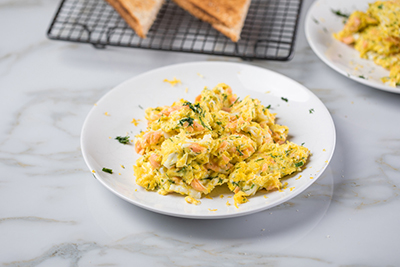 Scrambles Eggs with Smoked Salmon